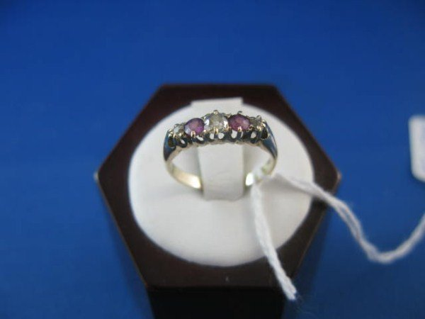ANTIQUE 15K ENGLISH RUBY AND DIAMOND RING