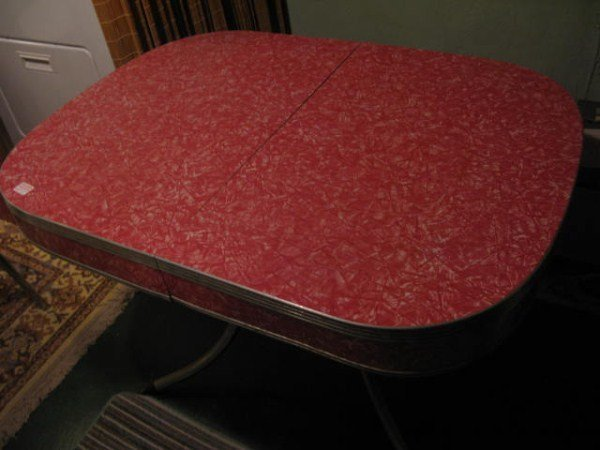VINTAGE RED FORMICA KITCHEN TABLE AND CHAIRS