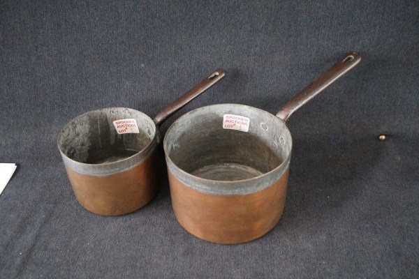 PAIR OF ENGLISH EARLY 19TH CENTURY COPPER POTS