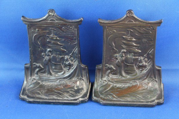 PAIR OF CHINOISERIE STYLE PAGODA FORM BOOKENDS