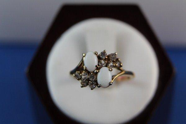 14K OPAL AND DIAMOND SURROUND RING