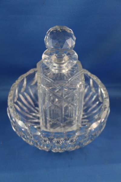 HEAVY CRYSTAL VICTORIAN BOWL AND SMALL DECANTER