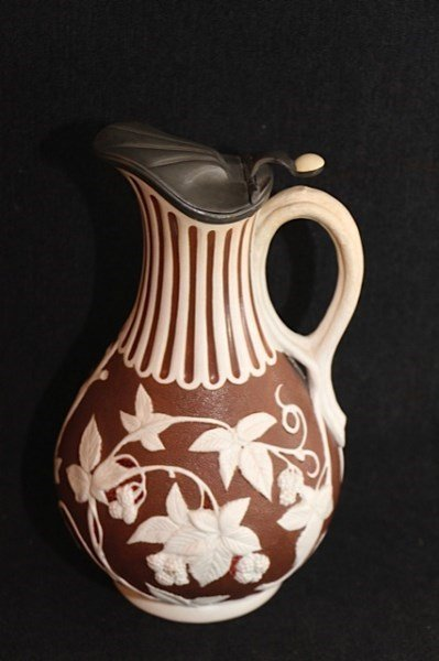 19TH CENTURY EWER- BERRY AND LEAF PATTERN