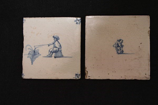 PAIR OF EARLY 18TH CENTURY DELFT DUTCH TILES