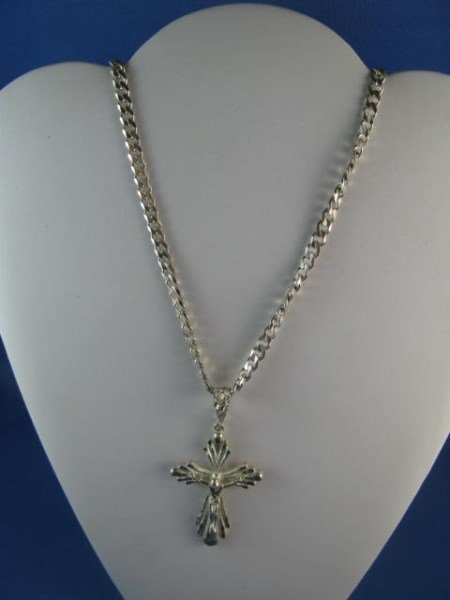 CRUCIFORM PENDANT WITH STERLING CURB LINK CHAIN