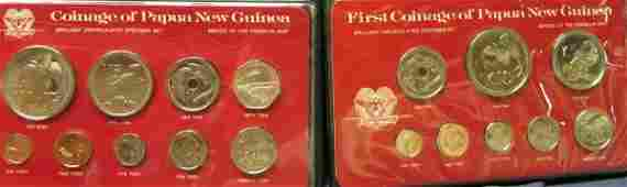TWO SETS OF FIRST COINAGE OF PAPUA NEW GUINEA