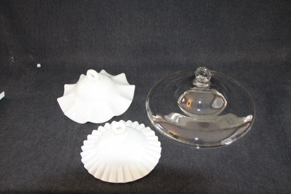 THREE SMOKE BELLS - TWO MILK GLASS, ONE CLEAR