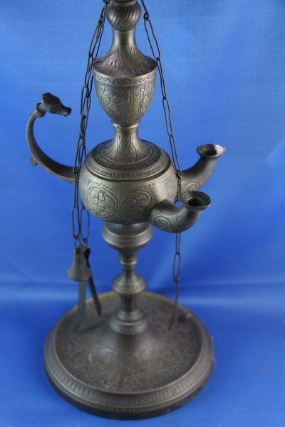 NEW ENGLAND C. 1840 CHASED BRONZE WHALE OIL LAMP