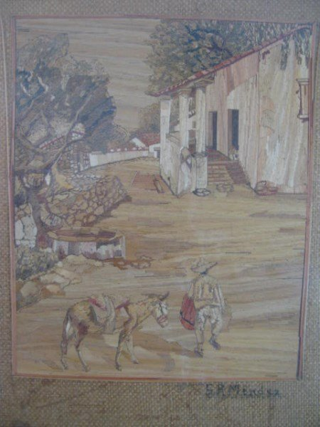 WOODEN MARQUETRY PICTURE - S.R. MENDEZ
