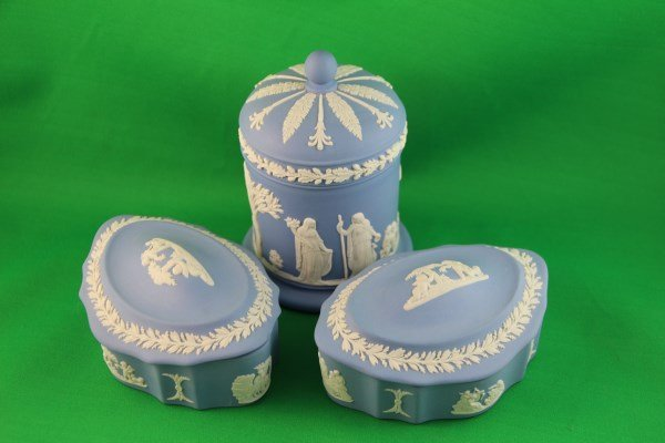 THREE WEDGWOOD COVERED DRESSER BOXES