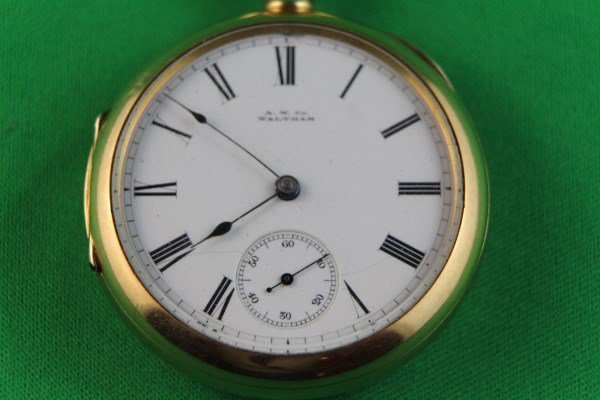 AM CO. WALTHAM 18K GOLD POCKET WATCH