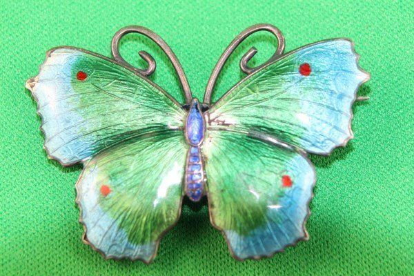 STERLING ENAMELLED BUTTERFLY BROOCH