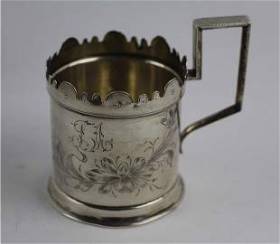 RUSSIAN875 SILVER TEA GLASS HOLDER- FYODOR IVANOV