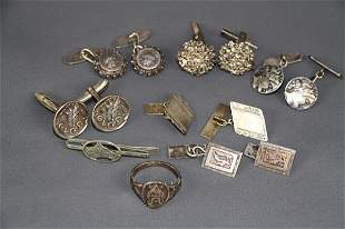 ASSORTED MENS CUFFLINKS, VIKING RING AND TIE CLIP