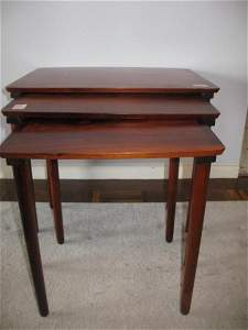MID CENTURY MODERN DANISH  NESTED ROSEWOOD TABLES