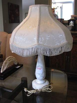 ALABASTER TABLE LAMP WITH EMBOSSED SILK SHADE