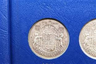 FIFTEEN CANADIAN HALF DOLLARS