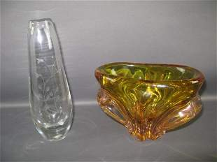 CRYSTAL KOSTA VASE AND ART GLASS VASE