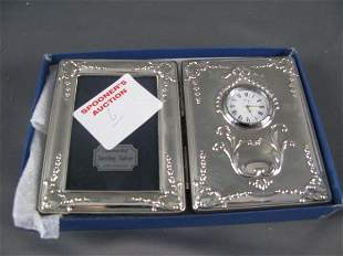 STERLING FRAME WITH INSET CLOCK