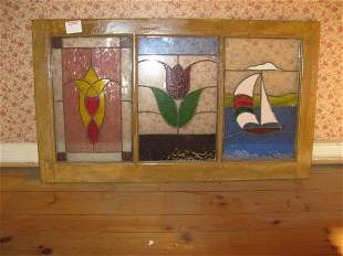 THREE PANEL STAINED GLASS WINDOW