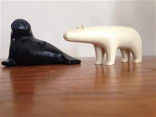 STONE CARVED WALRUS AND CARVED IVORY BEAR