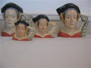 FOUR ROYAL DOULTON ANNE OF CLEVES CHARACTER JUGS