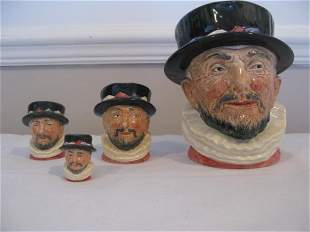 FOUR ROYAL DOULTON BEEFEATER CHARACTER JUG