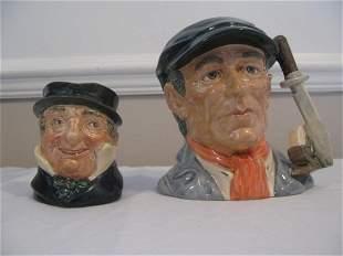 2 ROYAL DOULTON CAP'N CUTTLE & LITTLE MESTER JUGS
