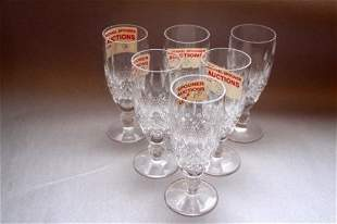 SIX WATERFORD FLUTED CHAMPAGNES - COLLEEN PATTERN