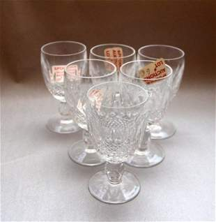 SIX WATERFORD WHITE WINE GLASSES - COLLEEN PATTERN