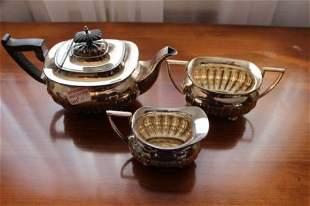 3 PIECE EDWARDIAN SILVER TEA SERVICE-WALKER & HALL