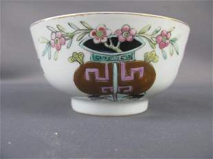 CHINESE WHITE PORCELAIN RICE BOWL WITH GILT TRIM