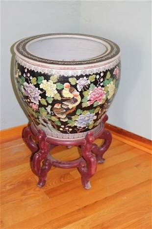 CHINESE PLANTER WITH WOOD BASE