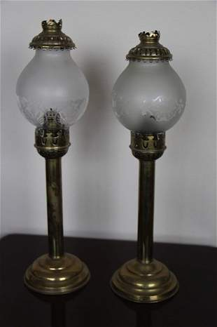 PAIR BRASS + ETCHED GLASS VICTORIAN PARLOUR LAMPS