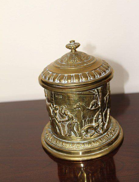 VICTORIAN BRASS TOBACCO JAR