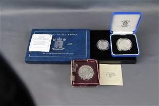 2 U.K ROYAL MINT SILVER COINS + 1951 F.O.B. CROWN