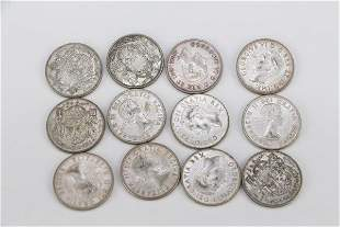 TWELVE CANADIAN HALF DOLLARS PRE-1958