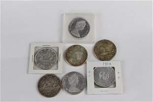 SEVEN CANADIAN SILVER DOLLARS PRE-1968