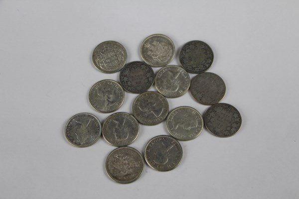 FOURTEEN CANADIAN HALF DOLLARS 1907-1965