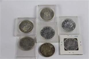 SEVEN CANADIAN SILVER DOLLARS PRE -1967