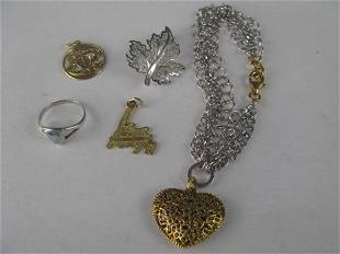 FIVE PIECES 10K GOLD AND STERLING JEWELLERY