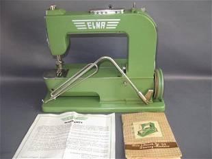 "1952 ELNA 1 ""GRASSHOPPER"" GREEN SEWING MACHINE"