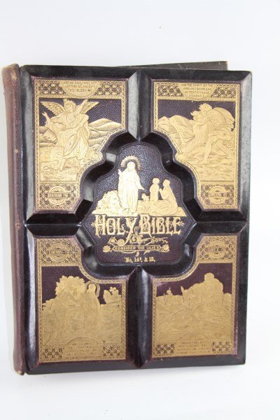 LEATHER BOUND AND GILT PRONOUNCING PARALLEL BIBLE
