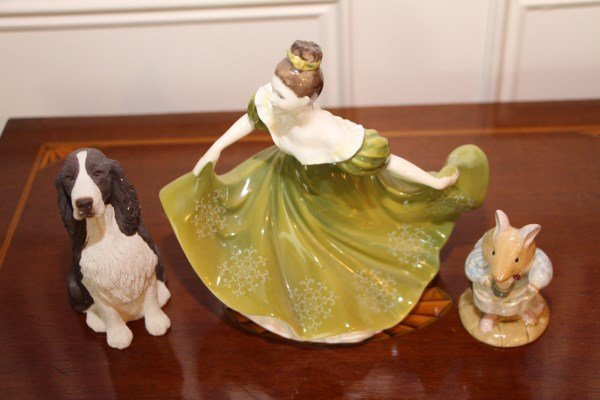 THREE FIGURINES - ROYAL DOULTON AND SANDICAST