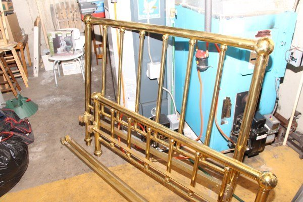 ANTIQUE BRASS BED WITH RAILS