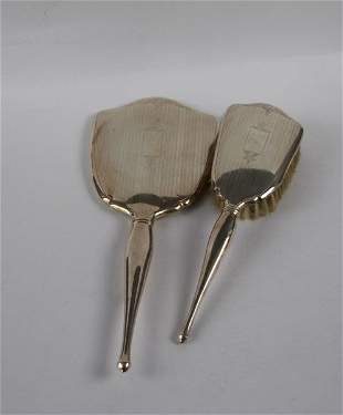 BIRKS STERLING CASED MIRROR AND BRUSH