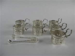 7 STERLING GLASS COFFEE CUP HOLDER+ SUGAR NIPS