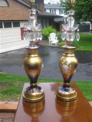 PAIR OF CZECHOSLOVAKIAN COBALT BLUE GLASS TABLE LAMPS