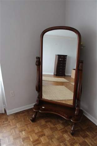 VICTORIAN ARTICULATED MAHOGANY FRAME CHEVAL MIRROR