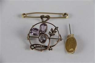 14K AND 9K SEED PEARL BROOCHES AND PIN